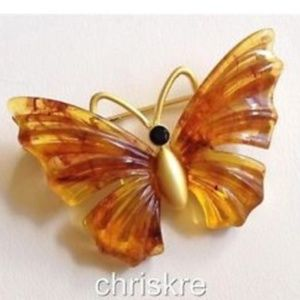 Gold Honey Amber Butterfly Pin Brooch Insect